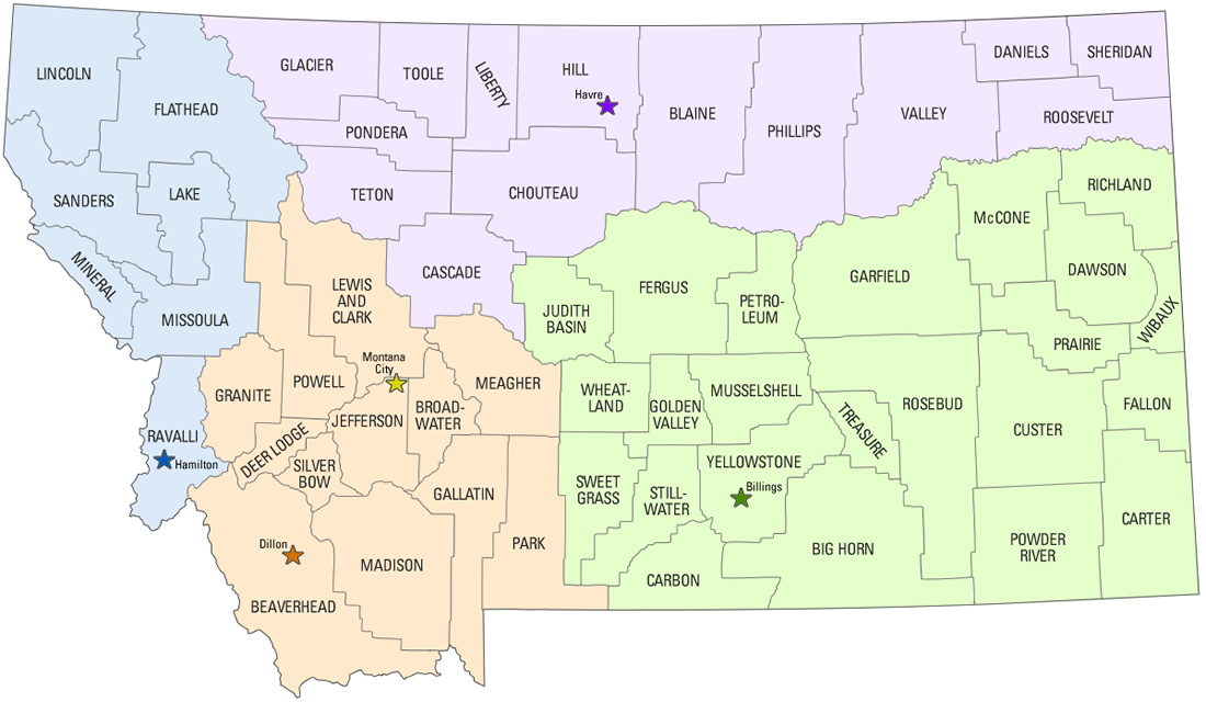 REO Office Map By Montana County